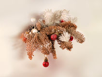 Toy tree branches with toys. Vintage toy tree branches with toys for Christmas Royalty Free Stock Photos