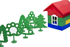 Toy trees and house Royalty Free Stock Photo