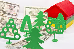 Toy trees , monetary alley Royalty Free Stock Images