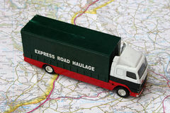 Toy truck. Standing on map Stock Photos