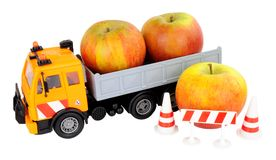 Toy Truck Carrying Apples Imagens de Stock Royalty Free