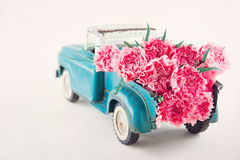 Toy truck carrying pink carnations Royalty Free Stock Photo