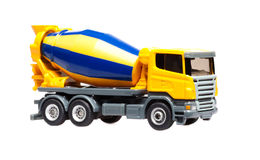 Toy truck concrete mixer. Toy heavy truck concrete mixer isolated over white background Stock Image
