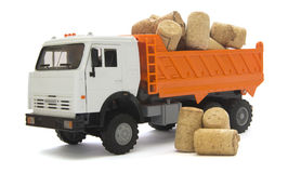 Toy truck with cork stopper for a wine bottle Stock Image