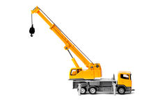 Toy truck crane. Yellow toy truck crane isolated over white backgroung Stock Photo