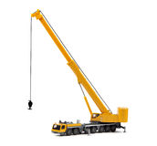 Toy truck crane isolated over white backgroung. Yellow toy truck crane isolated over white backgroung Royalty Free Stock Photos