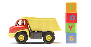 Toy truck and cubes. On white background.  It's 3D image Royalty Free Stock Photography