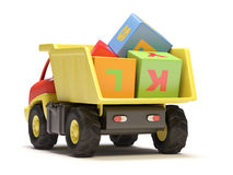 Toy truck and cubes Royalty Free Stock Photo