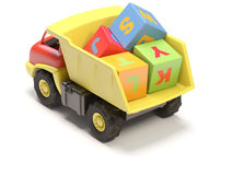 Toy truck and cubes Stock Photo