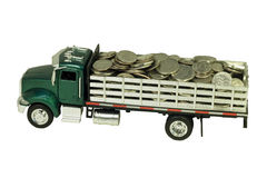 Toy truck filled with coins Stock Photography