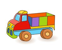 Toy Truck flash card. Kids Wall Art. First word flashcard. Playroom decor. Colorful toy Truck. Cartoon clipart eps 10. Illustration isolated on white background vector illustration