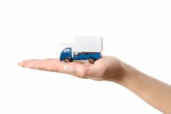 Toy truck on hand Royalty Free Stock Photography