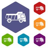 Toy truck icons set hexagon Stock Photos