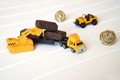 A toy truck is loaded with candy to take to the children royalty free stock images