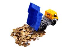 Toy truck loaded with coins Royalty Free Stock Photos
