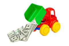 Toy truck with money Stock Images