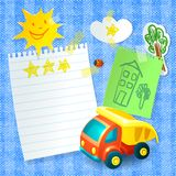 Toy truck paper postcard template Royalty Free Stock Photography