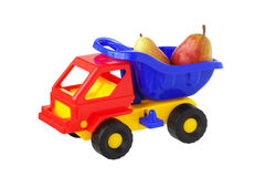 Toy truck with pears. Isolated Royalty Free Stock Images