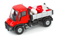 Toy truck with pills Royalty Free Stock Photos