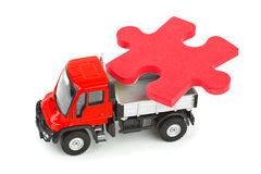 Toy truck with puzzle Royalty Free Stock Image