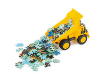 Toy truck with puzzle Royalty Free Stock Photos