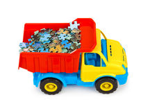 Toy truck with puzzle Stock Photo
