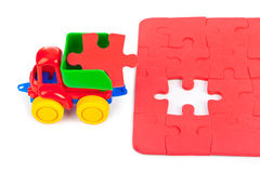 Toy truck with puzzle Royalty Free Stock Photography