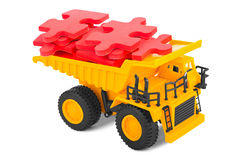 Toy truck with puzzle Royalty Free Stock Images