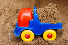 Toy truck with sand Royalty Free Stock Photo