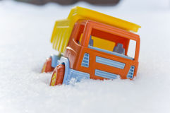 Toy Truck Stuck In Snow Royalty Free Stock Photo