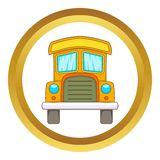Toy truck vector icon. In golden circle, cartoon style isolated on white background Stock Photo