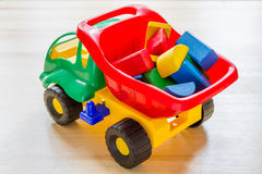 Toy truck with wood blocks Stock Images