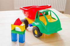 Toy truck with wood blocks Stock Photography