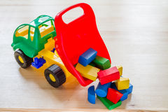 Toy truck with wood blocks Royalty Free Stock Image