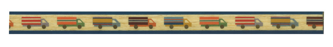 Toy trucks on banner. A view of a line of trucks that can be used as a banner or border royalty free illustration