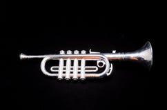 Toy Trumpet d'annata d'argento Fotografia Stock Libera da Diritti