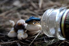 A toy turtle and a glass bottle. Royalty Free Stock Photography