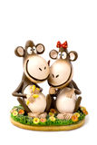 Toy, two monkey with bananas Royalty Free Stock Images