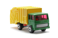 Toy van. Macro of a mini plastic toy van, isolated on white background Royalty Free Stock Photos