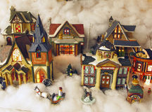 A Toy village. A display for the holiday a toy village Stock Photography
