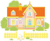 Toy village house. Vector illustration of a colorful country house and a courtyard with a fence, trees and bushes Royalty Free Stock Photography