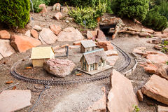 Toy Village and Model Railroad Royalty Free Stock Images