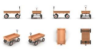 Toy Wagon des kleines Kindes auf weißer Illustration 3D Stockbilder