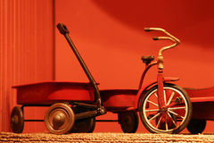Toy wagon with tricycle Stock Images