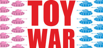 Toy war. Pink and blue tanks go on the offensive. Military toy a Stock Photography