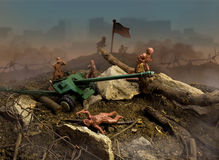 Toy war. Plastic brown toy war scene attack with cannon and flag Royalty Free Stock Images