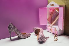 Free Toy Wardrobe With Real Size Shiny High Heels And Handbag In Miniature Stock Image - 120673701