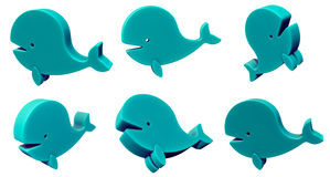 Toy whale 3d set isolated on white stock illustration