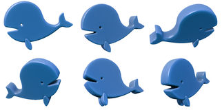 Toy whale 3d set isolated on white Royalty Free Stock Images