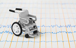 Toy wheelchair on ecg Royalty Free Stock Photography
